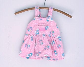 Vintage infant girl jumper pink corduroy OshKosh snowmen holiday 12 months