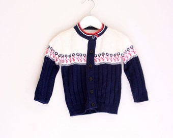 Vintage toddler girls cardigan 18 to 24 months red white and blue sweater for a young girl