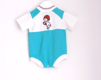 Vintage infant boy onesie football player 3 to 6 months by little adorables