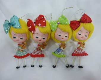 1 Sweet Vintage Cloth Pose Doll Head Christmas Ornament w Handmade Gingerbread Boy Cookie