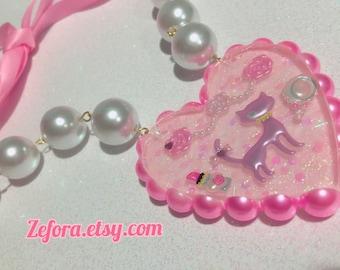 Big Princess Kitty Resin Heart Pearl Ribbon Statement Necklace