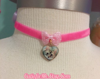 Cat Pink Velvet Ribbon Choker Necklace