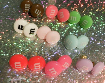 M&M Candy Round Button Stud Earrings (9 colors)