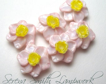 Handmade Lampwork Beads, PINK DAFFODILS, Narcissus, Jonquil, artisan glass flowers, glass flower bead, lampwork daffodil, daffodil bead