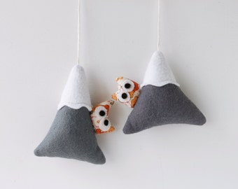 Grey Mountains, Felt ornaments with owl , Christmas decoration, Snowy Peaks.