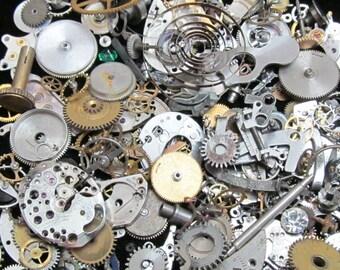 1 oz 28 grams Vintage Watch movements parts cogs gears Steampunk Z 37