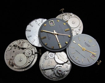 Vintage Antique Round Watch Movements With Faces Dials Industrial Steampunk Altered Art Assemblage DI 76