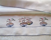 Vintage Tea Guest Towel Hand Embroidered Cross Stitch Asian Chinese Lanterns