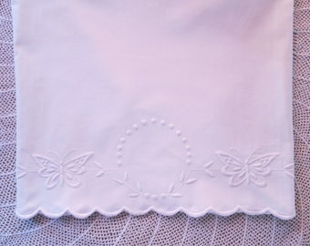Vintage Pillowcase Antique Bed Linens White Work Embroidery Embroidered Butterflies Shabby Cottage Chic
