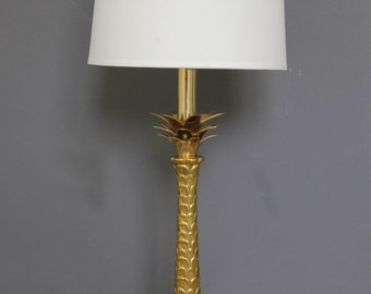 Tall Brass Palm Leaf Pineapple Brass Lamp