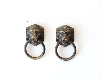 Lions Head Brass Drawer Handle Pull Hardware (Set of 2)