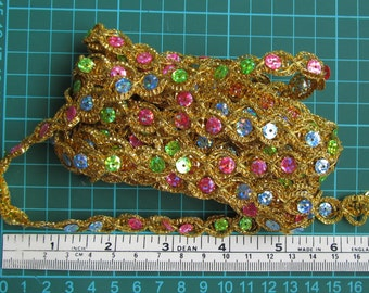 4 metres of 10mm wide golden braid trim with colourful sequins green blue pink