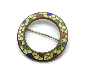 Guilloche Enamel Brooch - Mosaic Circle, Costume Jewelry