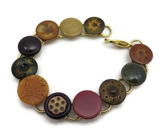 Vintage Button Bracelet - Metal, Celluloid, Costume Jewelry