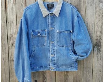 Vintage Denim Jacket  //  Vtg 90s RALPH LAUREN Black Label Made in the USA Distressed Trashed Denim Jacket
