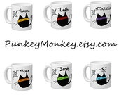 Reserved for Melanie Set of 6 Ninja Kitty printed mugs as discussed and as shown