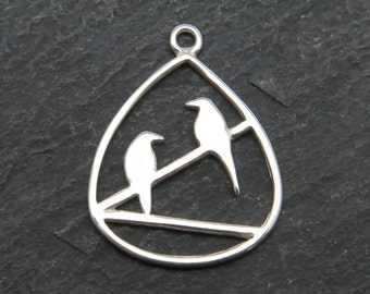 Sterling Silver Two Birds Pendant 20mm (CG7644)