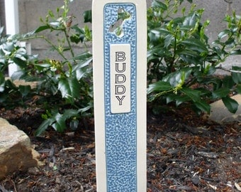 Pet Grave Marker Memorial Headstone Tombstone / custom handcrafted ceramic burial marker for all pets / medium blue and cream colored