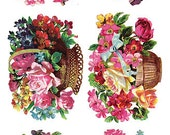 Self Adhesive Victorian Flower Baskets 1 Sheet Colorful Scrapbooking Stickers  Number Y122