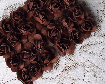 Paper Flowers 24 Small Millinery Roses In Chocolate Brown