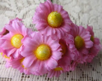 12 Fabric Millinery Flowers Pink Daisy Daisies