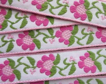 2 Yards Floral Trim Jacquard Ribbon Pink Embroidered Flowers Very Nice Quality VT 51