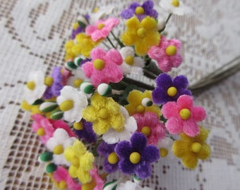 Czech Republic Velvet Forget Me Nots Millinery Fabric Flowers Colorful Mix