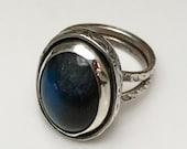 Size 9 Labradorite Ring Sterling Patterned