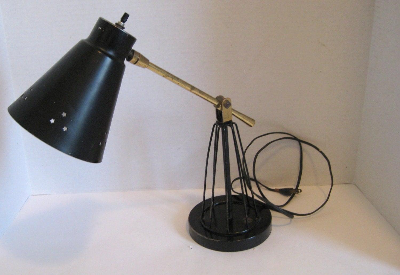 vintage adjustable arm desk lamp cage style base black metal. Black Bedroom Furniture Sets. Home Design Ideas