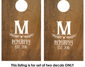 Cornhole Decals   Wedding Game   Custom Cornhole Decals   Personalized Corn Hole Board   Rustic Wedding Decor