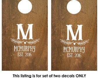 Cornhole Decals | Wedding Game | Custom Cornhole Decals | Personalized Corn Hole Board | Rustic Wedding Decor