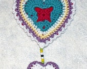 Crochet Multi Color HeartValentine Hanging Ornament/Decoration/Bow with FREE SHIPPING