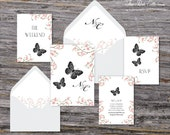 Secret Garden Wedding Invitation (Butterfly, Pink Cherry Blossoms with Your Pick of Envelopes) - Park Collection Sample