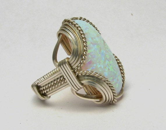 Opal Cabochon Ring Wire Wrapped Ring Sterling Silver Handmade Synthetic Opal Gemstone Cabochon Personalized  Ring