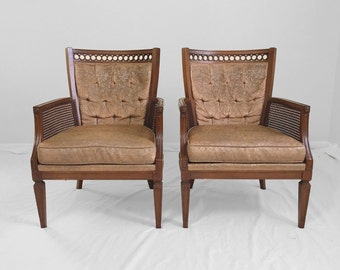 2 HOLLYWOOD regency loop back & cane accent chairs