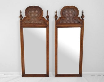 "35% SALE 55"" hollywood regency CANE & FINIAL topped tall mirror"