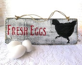 Farm House Chic Farm Fresh Eggs Wood Wall Plaque Sign Paris Chic ~ Shabby Vintage Chic ~ chicken ~ Antiqued sign ~ Distressed