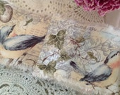 NATURE FABRIC - Birds  Eggs Feathers - Lots of Script - Postage