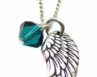 "Archangel Raphael Pewter Angel Wing Charm Pendant, Green Swarovski Crystal, Sterling Silver Necklace 18"", Angel Prayer Jewelry Gift"