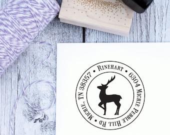 Christmas Address Stamp - Reindeer, Custom Address Stamp, Return Address Stamp, Christmas Stamp, Holiday Cards, Nature, Wooden Stamp, Rubber