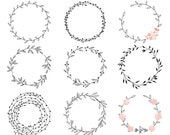 Wreath clip art - hand drawn wreath clip art digital handdrawn floral wedding clipart pink shabby romantic branches leaf woodland chic fauna