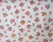 1940's Vintage Cotton Fabric, Little Pink and Yellow Roses on Polka Dot, Quilting, Patchwork, Forties Fabric, Creative Projects