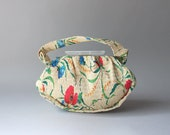 Reserved...1930s Bag / Vintage 1940s Poppy Printed Plastic Floral Bag / World War Two Lucite Clasp Handbag