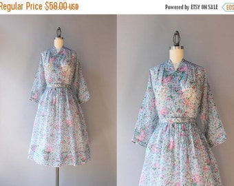 STOREWIDE SALE 1950s Dress / Vintage 50s Sheer Floral Dress / 50s Faux Wrap Carnation Dress