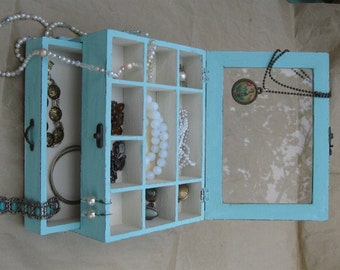 Light Blue & Cream Shabby Chic Home Decor Wooden Jewelry Box