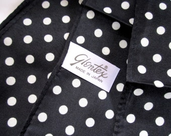 Vintage Glentex polka dot white and black polyester scarf Made in Japan MIJ