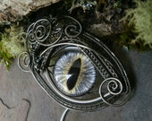 Gothic Steampunk Soft Gray Eye Hair Stick Haarstuck