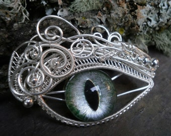 Gothic Steampunk Green and Silver Eye Pendant