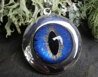 Gothic Steampunk Purple Blue Eye 2 way Photo Locket