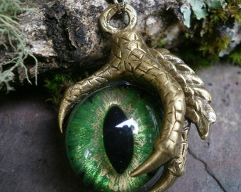 Gothic Steampunk Single Claw Pendant with Green Gold Eye